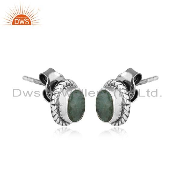 Natural emerald gemstone oval design oxidized silver stud earrings