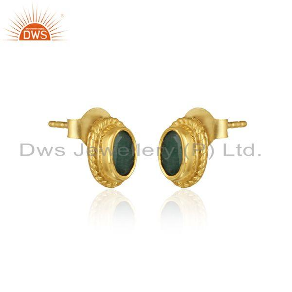Handmade silver 925 earring with emerald and yellow gold plating