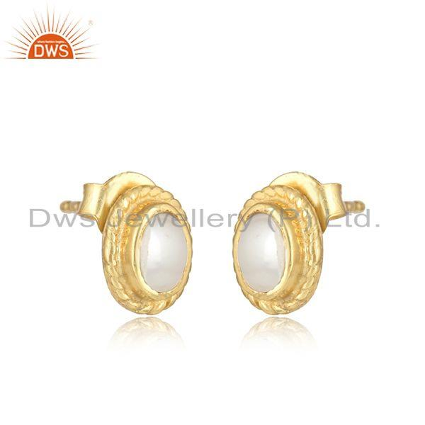 Textured silver stud 925 with pearl and yellow gold plating