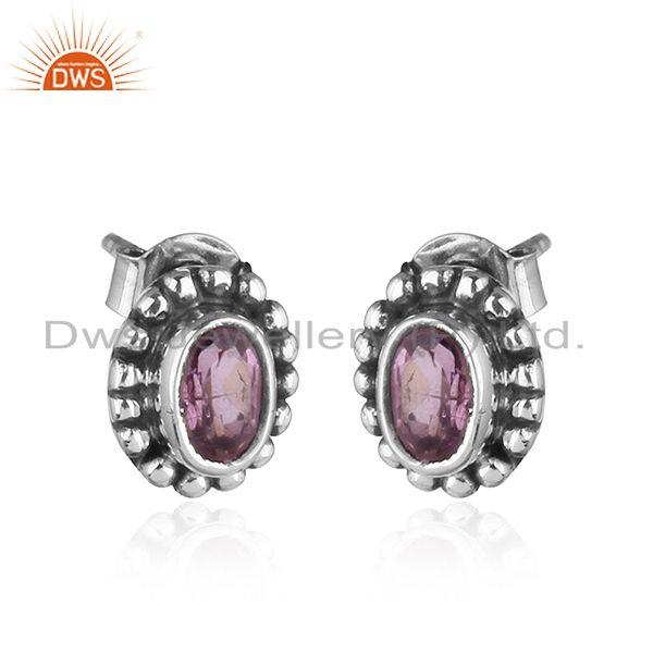 Exporter Natural Amethyst Black Oxidized 925 Sterling Silver Stud Earrings