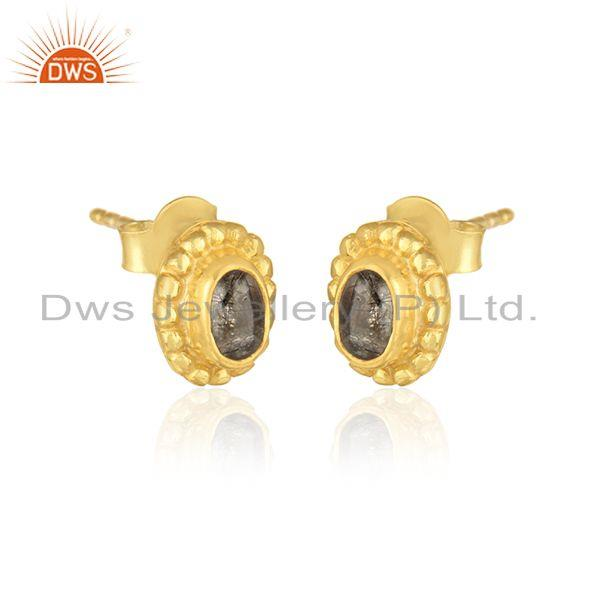 Textured dainty stud in yellow gold over silver with black rutile