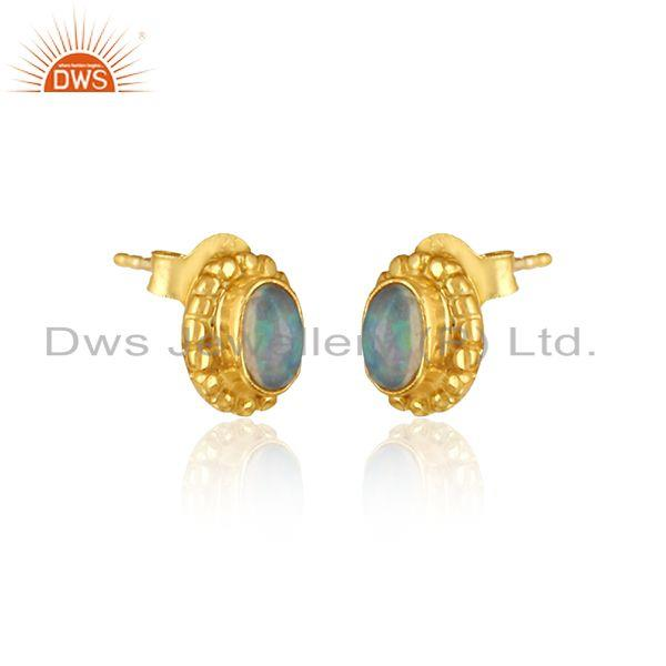 Designer stud in yellow gold on silver 925 with ethiopian opal