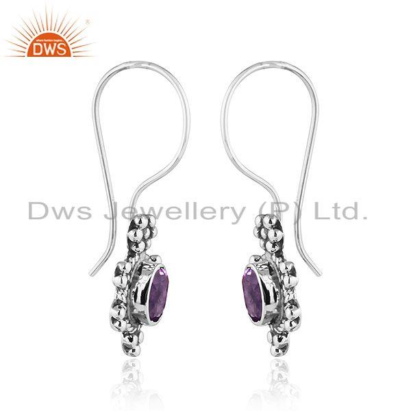 Exporter Black Oxidized Plated 92.5 Silver Amethyst Gemstone Earrings