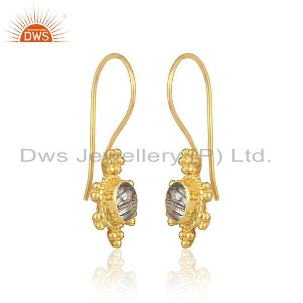 Dangle earring in yellow gold on silver 925 with black rutile