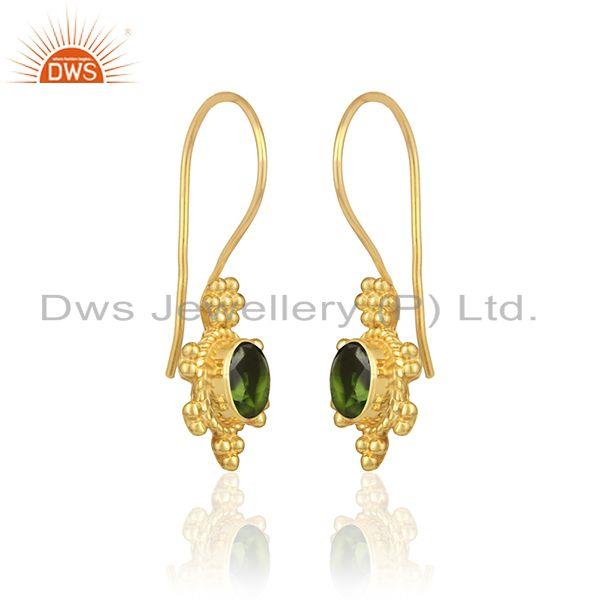Handcrafted earring in yellow gold on silver with chrome diopside