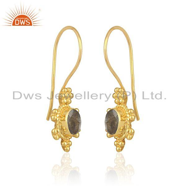 Designer dangle earring in yellow gold on silver with labradorite