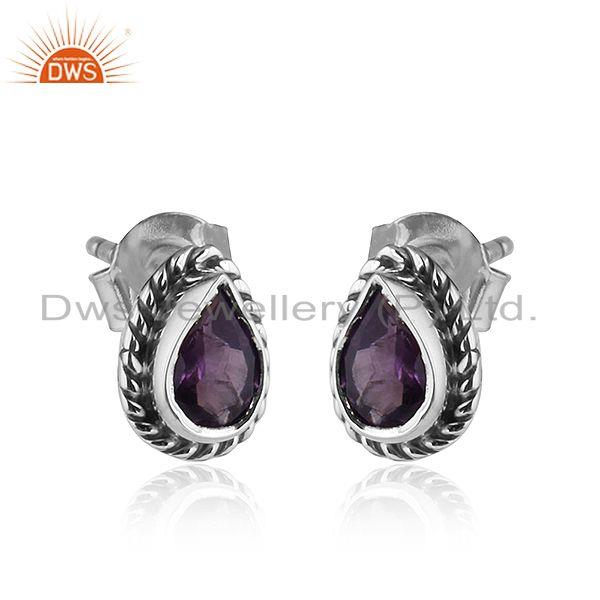 Exporter Pear Shape Amethyst Gemstone Oxidized 92.5 Silver Stud Earrings