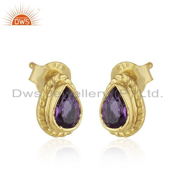 Exporter Designer 18k Gold Plated Silver Amethyst Gemstone Stud Earrings