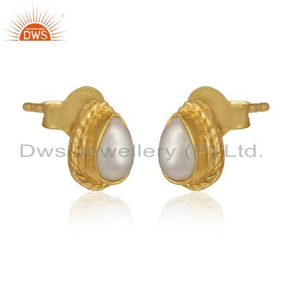 Pear pearl gemstone designer yellow gold plated silver earrings