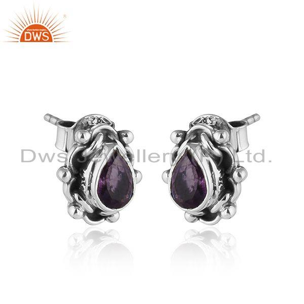 Exporter Black Oxidized 92.5 Silver Amethyst Gemstone Stud Earring Jewelry