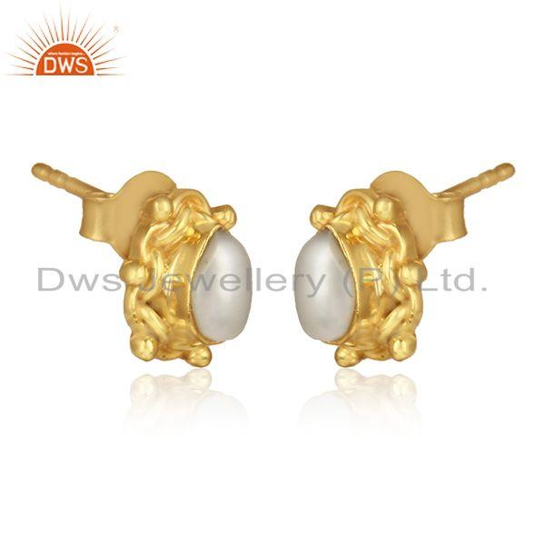 Designer gold plated 925 silver womens pearl gemstone earrings