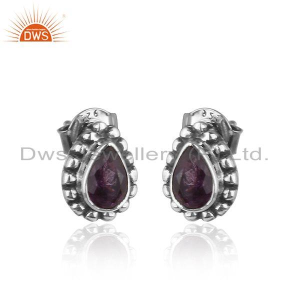 Exporter Pear Shape Amethyst Gemstone Silve Oxidized Stud Earrings Jewelry