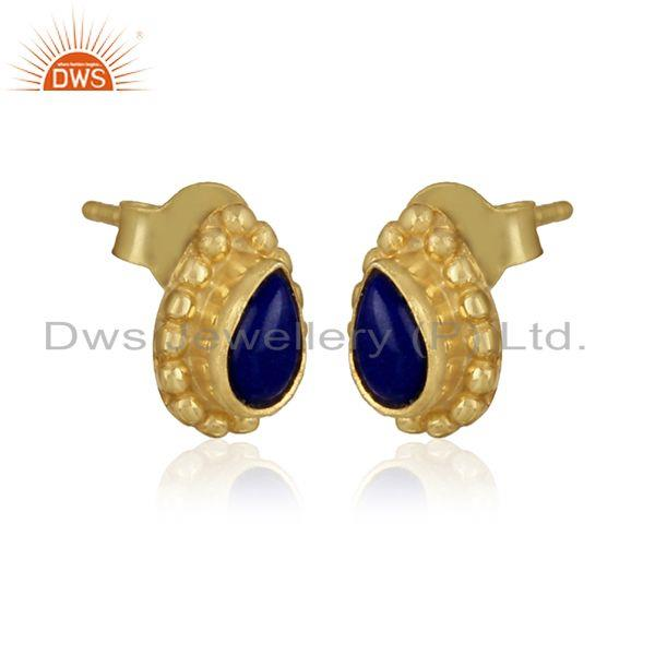 Lapis lazuli gemstone designer gold over 925 silver stud earrings