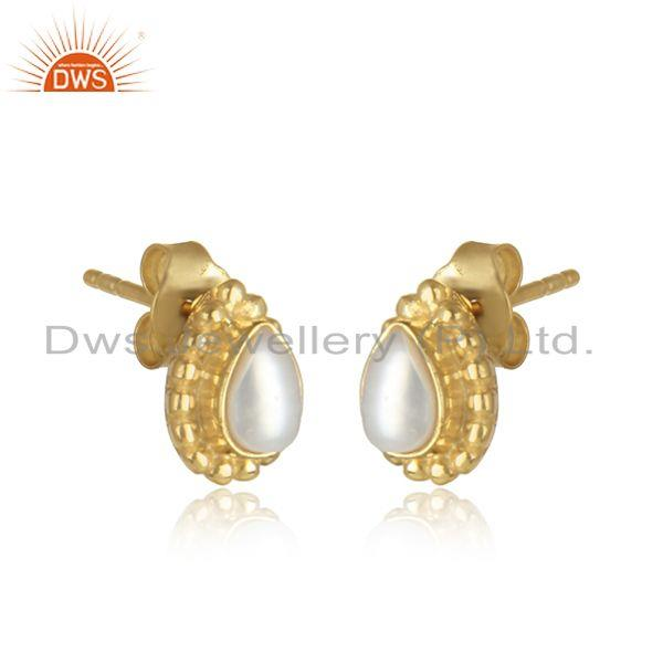 Natural pearl gemstone womens 18k gold plated silver stud earring