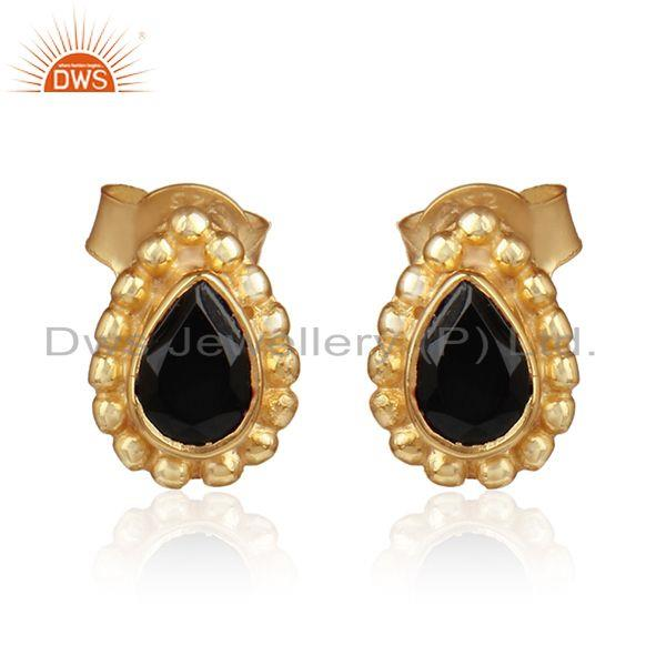 Pear shape gold over silver natural black onyx gemstone earrings