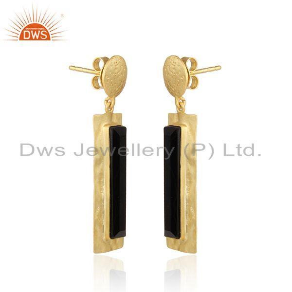 Exporter Handmade Gold Plated Silver Texture Design Black Onyx Earrings