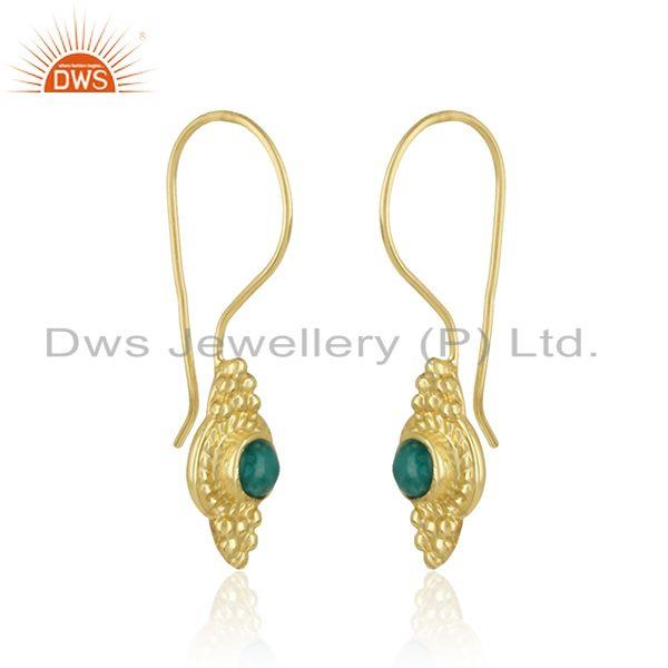 Handmade earring in yellow gold over silver 925 with amazonite