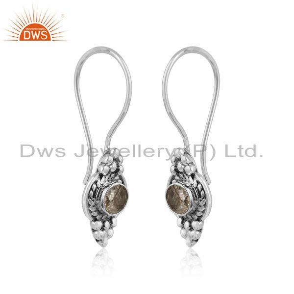 Black rutile gemstone new look designer oxidized silver earrings