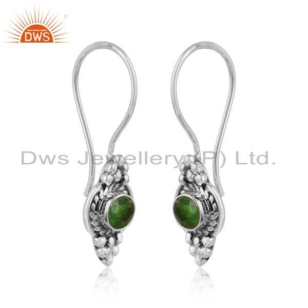 Handmade oxidized 925 silver womens chrome diopside earring jewelry