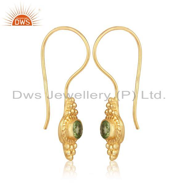 Textured earring in yellow gold over silver 925 with peridot