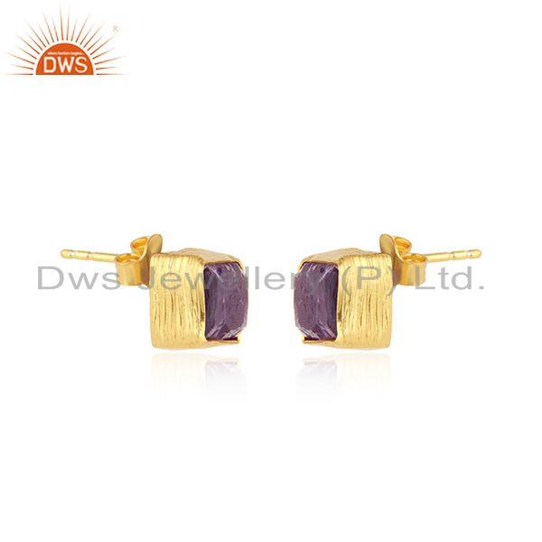 Exporter New Yellow Gold Plated 925 Silver Amethyst Gemstone Stud Earrings