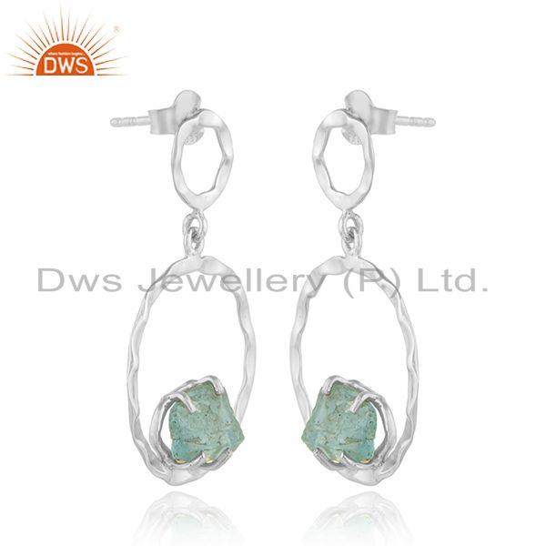 Exporter Apatite Gemstone 925 Sterling Silver Dangle Disc Earrings Jewelry