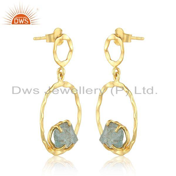 Exporter Natural Apatite Gemstone Gold Plated Silver Disc Earrings Jewelry