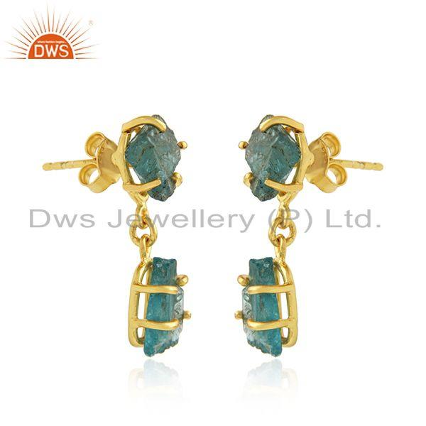 Exporter Natural Apatite Yellow Gold Plated Silver Dangle Earrings Jewelry