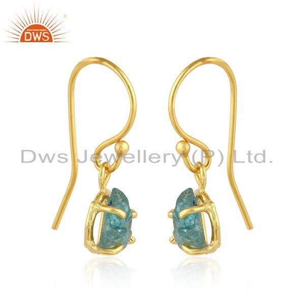 Exporter Gold Plated 925 Silver Designer Apatite Gemstone Hook Earrings