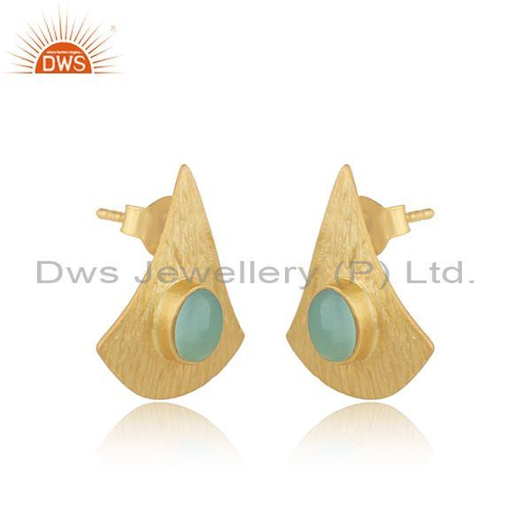 Supplier of Texture Design Gold On Silver 925 Aqua Chalcedony Earrings