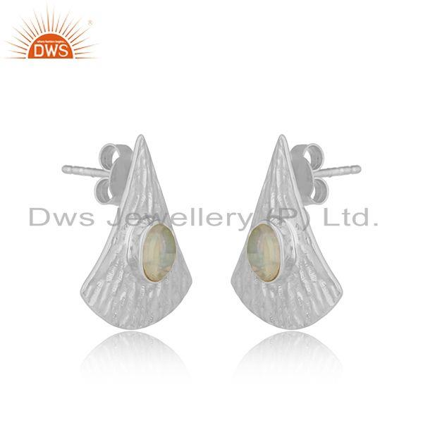 Exporter Handmade Texture Fine Silver Ethiopian Opal Gemstone Earrings