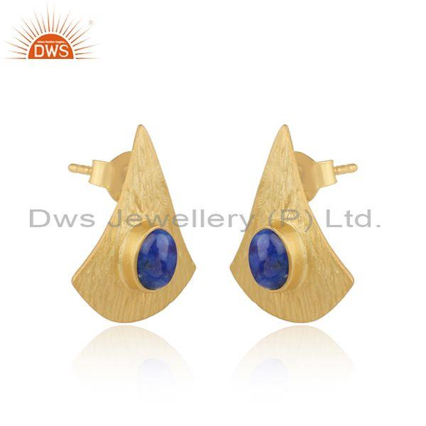 Supplier of Textured Design Yellow Gold On Silver 925 Lapis Earrings