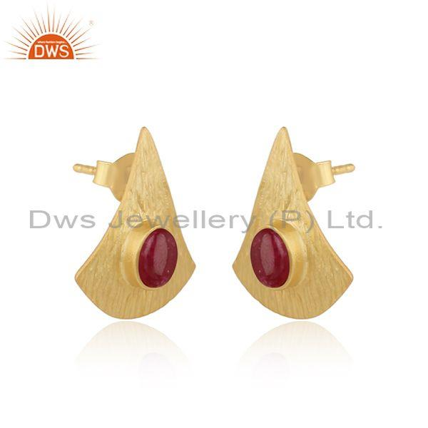 Supplier of Texture Design Gold On Silver 925 Dyed Ruby Earrings