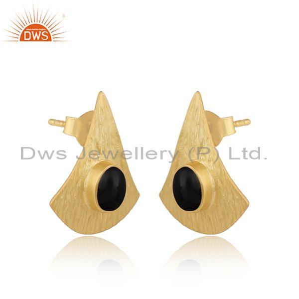 Supplier of Texture Design Gold On Silver 925 Black Onyx Earrings