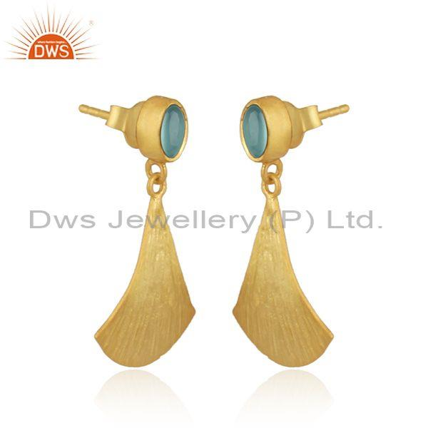 Supplier of Textured Gold on Silver Dangle Aqua Chalcedony Earring