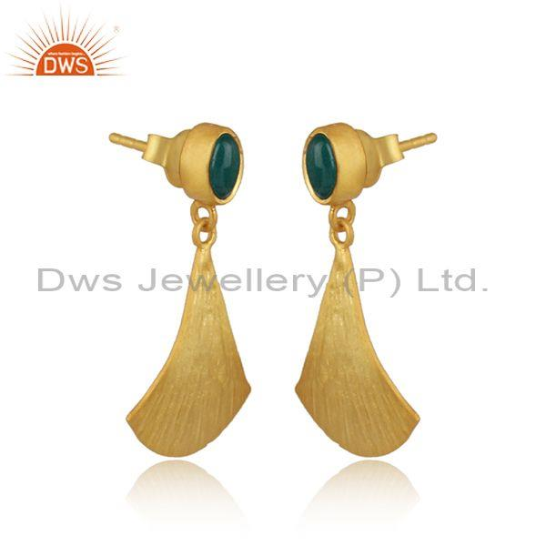 Supplier of Textured Gold on Silver Dangle Dyed Emerald Earring