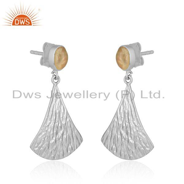 Exporter Longing Texture Fine Silver Ethiopian Gemstone Earrings Jewelry