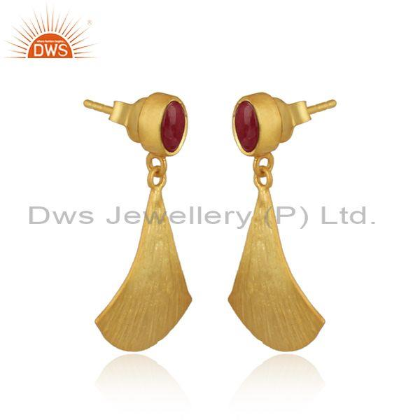 Supplier of Textured Gold on Silver 925 Dangle Dyed Ruby Earring