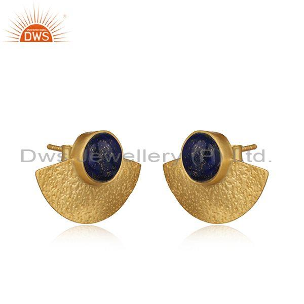 Supplier of Yellow Gold on 925 Silver Textured Stud Lapis Earrings