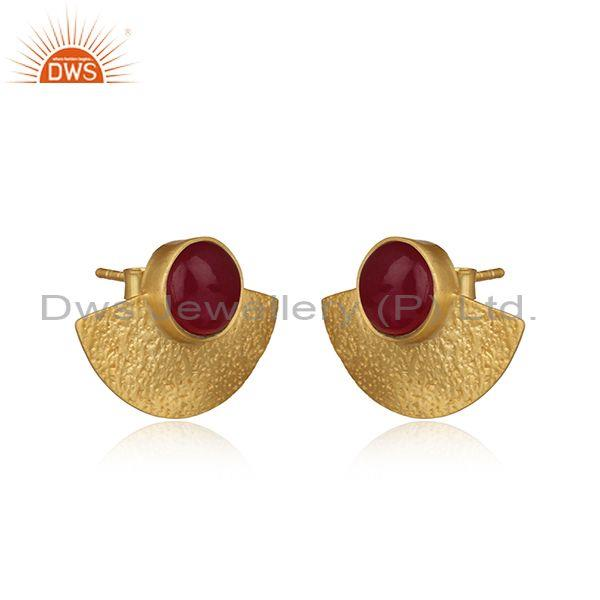 Supplier of Dyed Ruby Yellow Gold on 925 Silver Textured Fan Studs