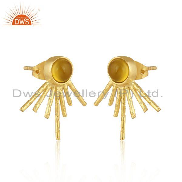 Round yellow chalcedony set brass gold statement earrings