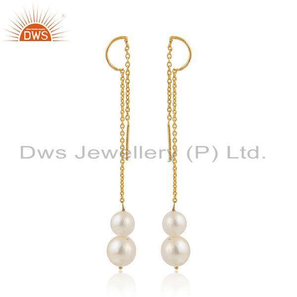 Longing pearl drops designer gold plated 925 silver chain earring