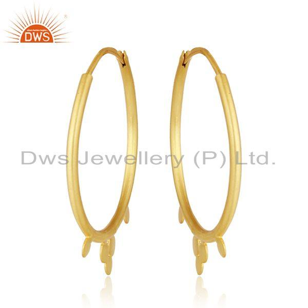 Designer gold plated 925 silver womens bali hoop earrings jewelry