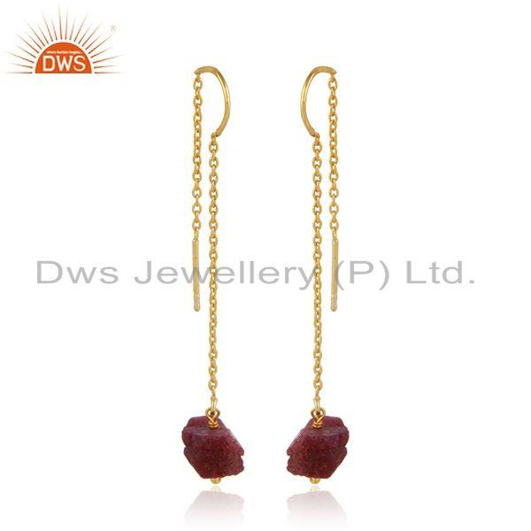 Exporter Natural Ruby Gemstone 925 Silver Yellow Gold Plated Chain Earring