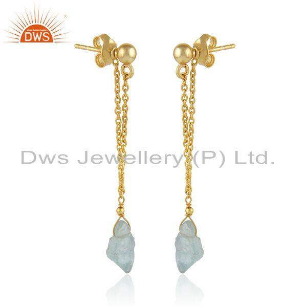 Exporter Aquamarine Gemstone Indian 18k Gold Plated Silver Chain Earrings