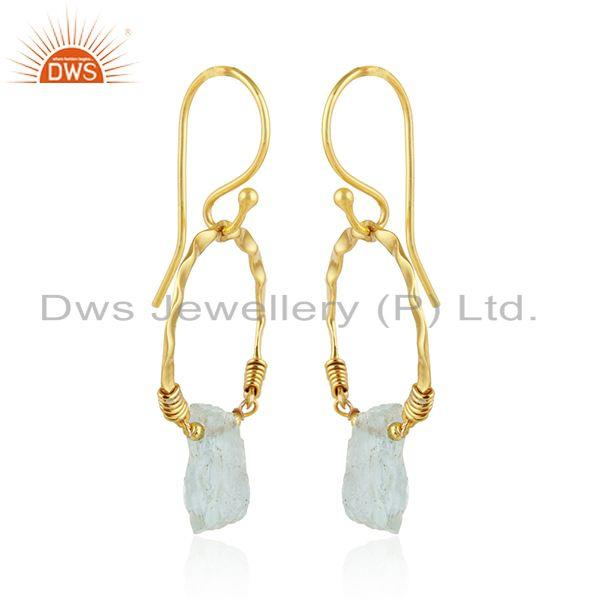 Exporter Round Gold Plated 925 Silver Designer Aquamarine Gemstone Earring