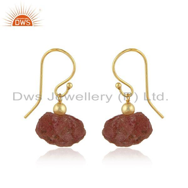 Exporter Natural Sun Stone Yellow Gold Plated Silver Dangle Hook Earrings