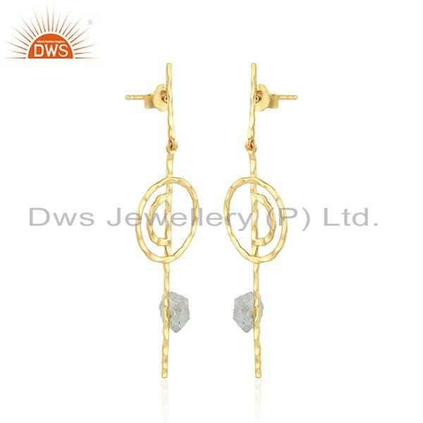 Exporter Handmade Stick Gold Plated 925 Silver Aquamarine Gemstone Earring