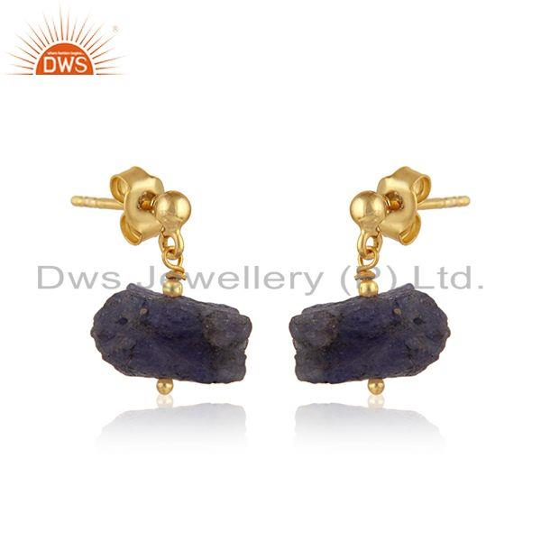 Exporter Tanzanite Gemstone Handmade Design Gold Plated Silver Earrings