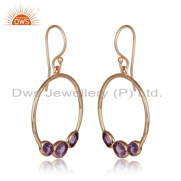 Amethyst gemstone designer rose gold on silver dangle earrings